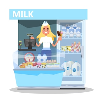 Milk market concept. happy young woman standing