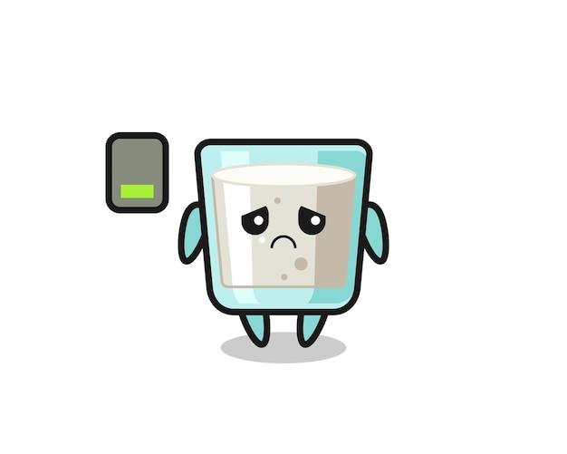 疲れたジェスチャーをしているミルクマスコットキャラクター、tシャツ、ステッカー、ロゴ要素のかわいいスタイルのデザイン