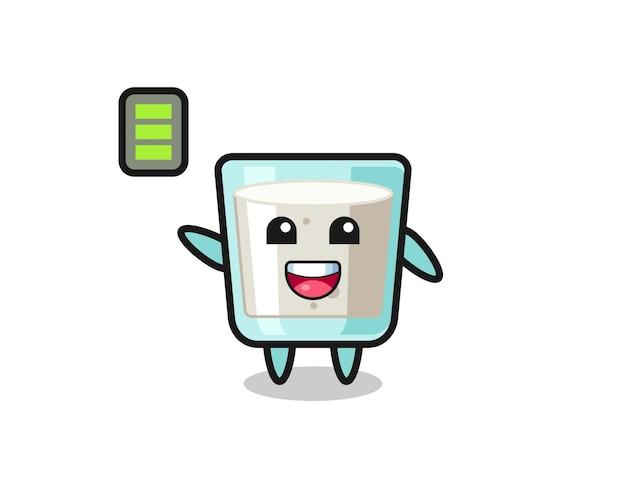 エネルギッシュなジェスチャー、tシャツ、ステッカー、ロゴ要素のかわいいスタイルデザインのミルクマスコットキャラクター