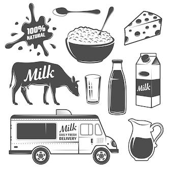 牛乳のモノクロ要素セット