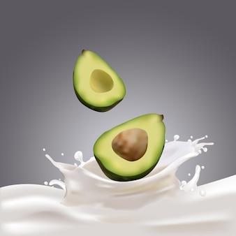 우유 또는 요구르트 튀는 및 키위 과일 벡터 개념