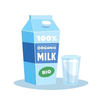 牛乳パックと乳飲料のグラス