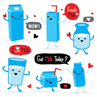 Milk Package Cartoon Character Cute Vector