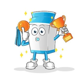 トロフィーとメダルの漫画のマスコットと牛乳パッケージの勝者