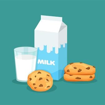 ミルクパッケージとチョコレート入りの伝統的なチップクッキーを入れたフルグラスミルク