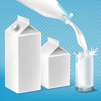 Milk packaging set, swirling in the glass from bottle. mock up of farm product