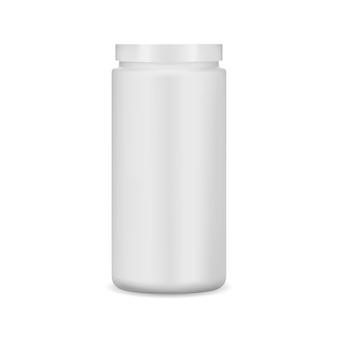우유 플라스틱 캔. 단백질 분말 항아리가 조롱합니다. 실린더 컨테이너, 현실적인 벡터 디자인, 약 정제 팩