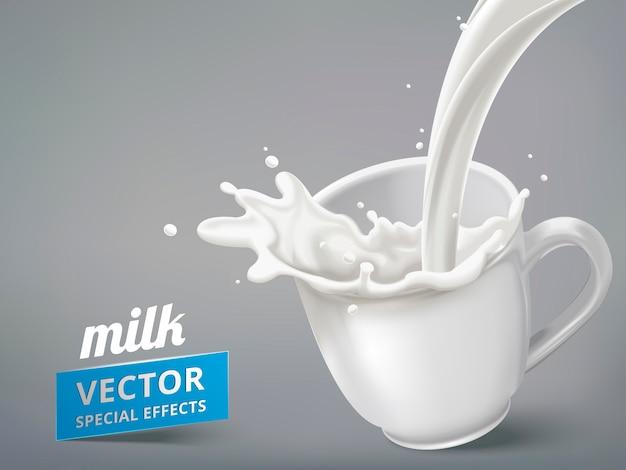 Молоко наливается в наклонную пустую чашку с правой стороны