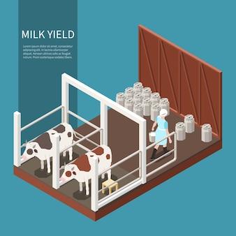 Concetto di produzione di latte con simboli di produzione di latte isometrici