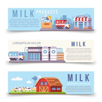 Milk production horizontal banners template