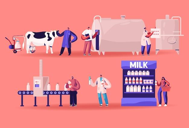 우유 생산 제조, 농장 산업, 컨베이어의 단계 공정, 유제품 기계 공장. 만화 평면 그림 프리미엄 벡터