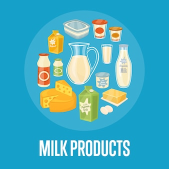 Milk products background with dairy composition