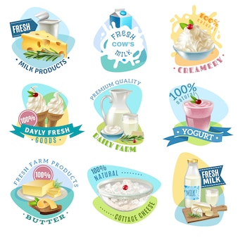 Milk products emblems set
