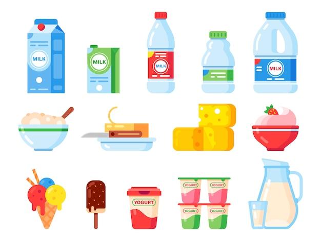 우유 제품. 건강한 다이어트 요구르트, 아이스크림 및 우유 치즈. 신선한 유제품 절연 평면 아이콘 모음