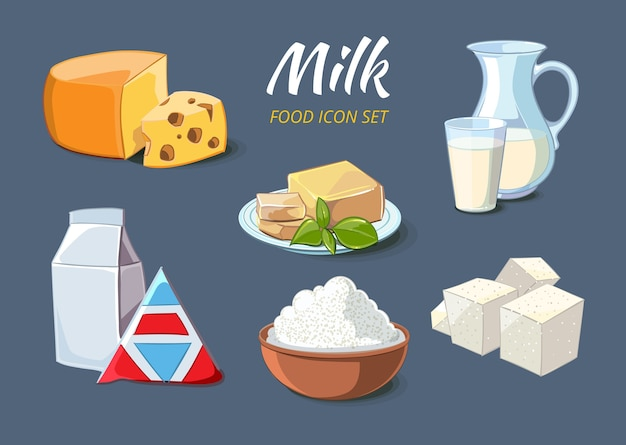 만화 스타일의 우유 제품 아이콘입니다. 음식 유기농 치즈와 버터, 두부 및 죽은 태아, 벡터 일러스트 레이션
