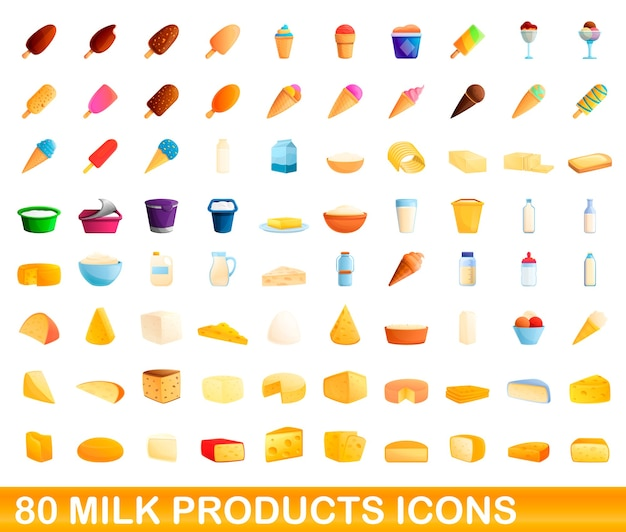 Milk products icons set. cartoon illustration of  milk products icons  set  on white background