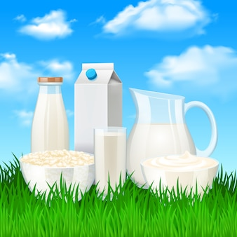 Milk products illustration