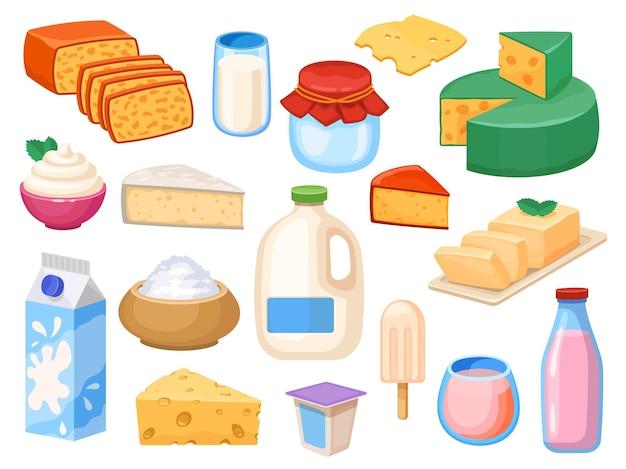 乳製品。ガラス、ボックス、ガロン、ヨーグルト、ホイップクリームとサワークリーム、チーズタイプ、バターのミルキードリンク。農場の新鮮な乳製品のベクトルを設定します。イラスト朝食商品、グラスミルク、ヨーグルトパック