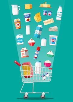 チーズ、コテージ、バターが入ったプラスチック製のショッピングカートにセットされたミルク製品。乳製品