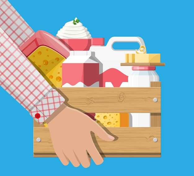 Молочные продукты в деревянной коробке иллюстрации