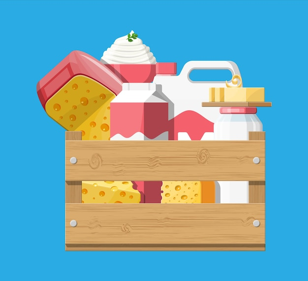 チーズ、コテージ、バターが入った木製の箱に入ったミルク製品。乳製品