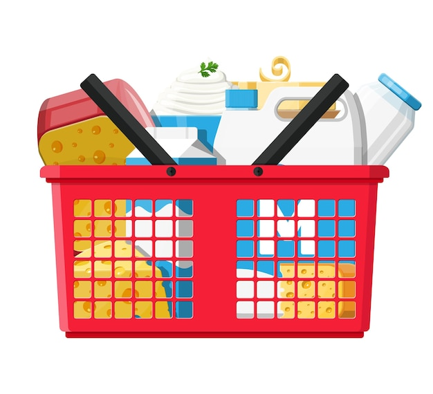 Milk products set in plastic shopping basket with cheese, cottage and butter. dairy food