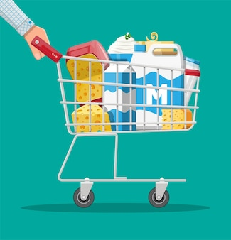 Milk products set in plastic shopping cart with cheese, cottage and butter. dairy food. tradicional fresh farm products. vector illustration in flat style