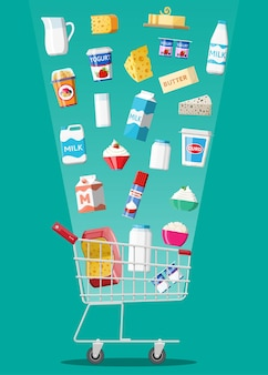 Milk products set in plastic shopping cart with cheese, cottage and butter. dairy food