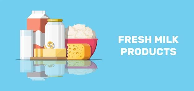 Набор молочных продуктов с коттеджем и маслом
