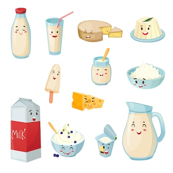 Milk products with smiles cartoon set
