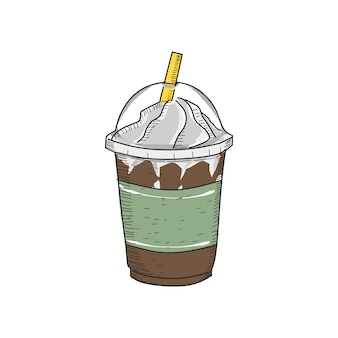 Milk shake in vintage hand drawn style.  ready to use in any need.