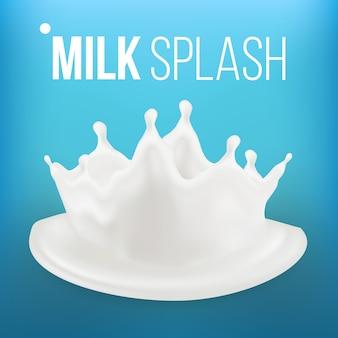 Milk splash on blue