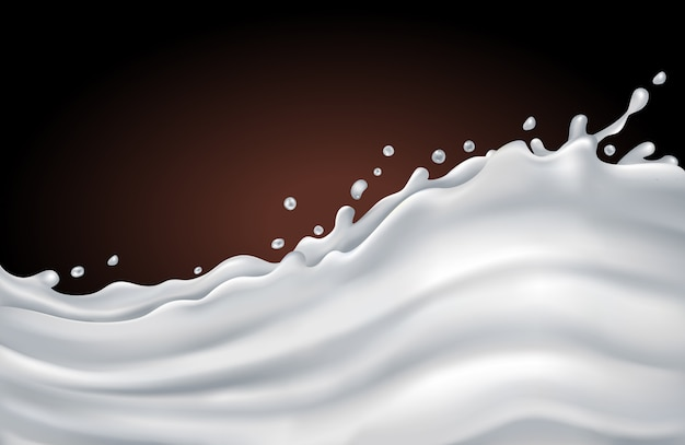Milk splash wave on a chocolate