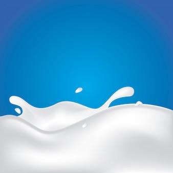 Milk splash with splashes isolated on a blue background