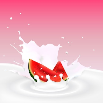 Milk splash with watermelon slice