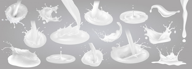 Milk splashes drops and blots.