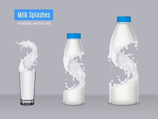 Milk splashes realistic composition