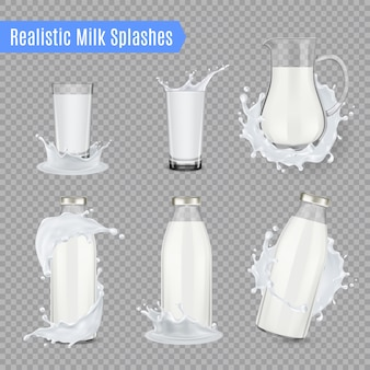 Milk splashes realistic set