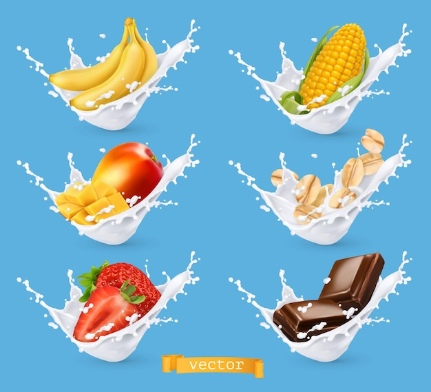 Milk splashes with fruit, cereal. banana, mango, strawberry, corn, oats, chocolate with milk. 3d vector realistic set