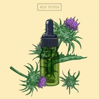 ミルクアザミの花と緑のガラススポイト、レトロなスタイルで手描きイラスト