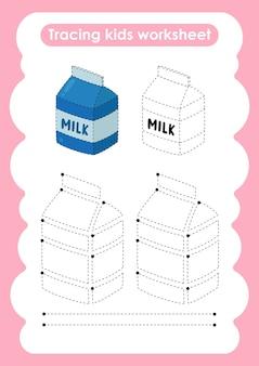 子供のためのミルクトレースラインの書き込みと描画の練習ワークシート