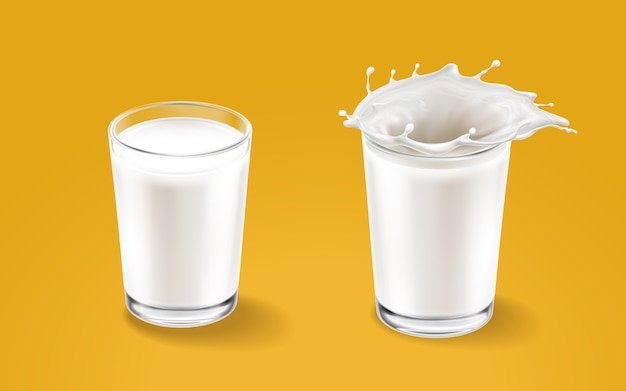 Milk and transparent cup elements isolated on warm background