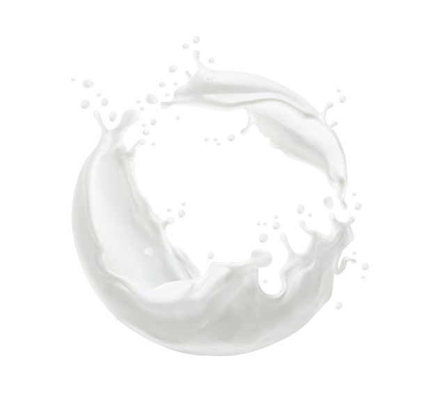 Milk twister or swirl splash with splatters and white milky drops flow, realistic vector. milk splash or cream drink pouring wave of liquid yogurt whirl for dairy products