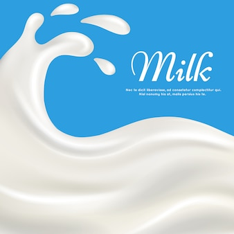 Milk with splashes realistic template