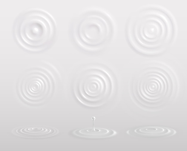 Milk yogurt or cream circles white realistic composition with drops waves top view and sideways