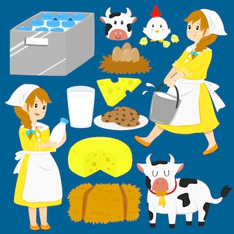 Milkmaid vector collection