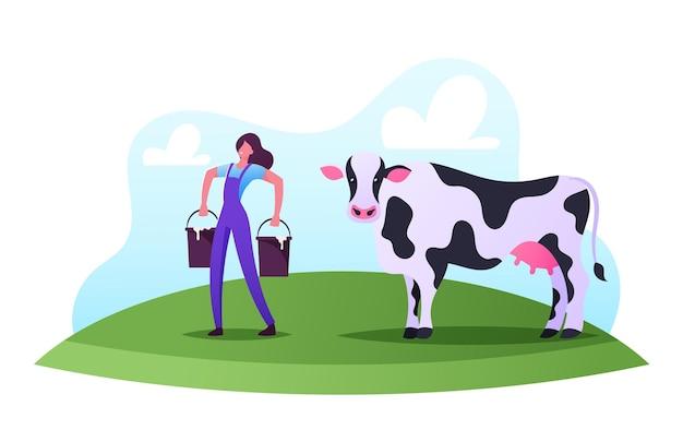 우유 배달원 직업 그림입니다. 농장에서 여성 캐릭터 작업. 제복을 입은 젖 짜는 여자가 필드에 젖을 짜는 후 양동이를 운반합니다.