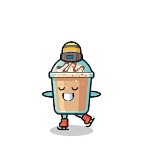 アイススケート選手としてのミルクセーキ漫画のパフォーマンス、tシャツ、ステッカー、ロゴ要素のかわいいスタイルのデザイン