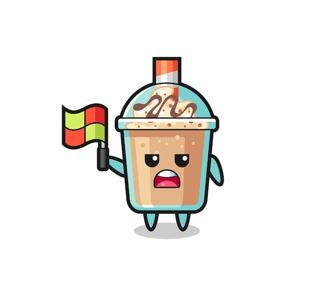 Milkshake character as line judge putting the flag up , cute style design for t shirt, sticker, logo element