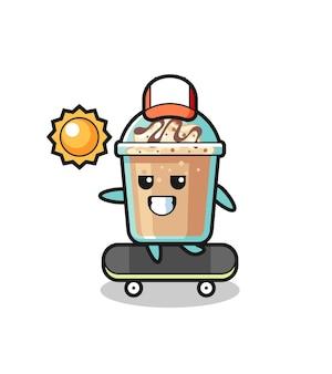 Milkshake character illustration ride a skateboard